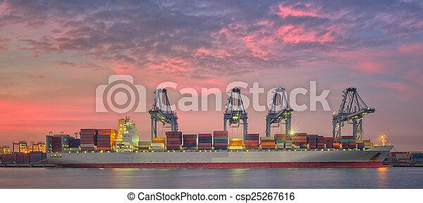 cargaison, chargement, récipient, fonctionnement, pont, bateau fret, grue - csp25267616