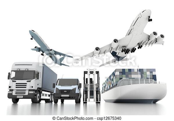 cargaison, concept, large, mondiale, transport, 3d - csp12675340