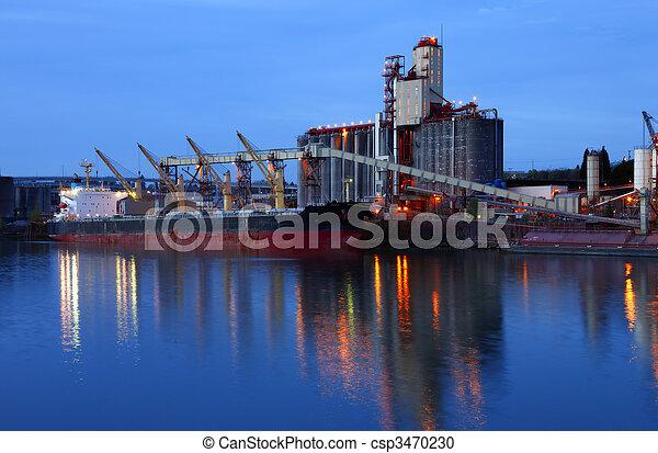 cargaison, dusk., &, ascenseurs, grain, bateau - csp3470230