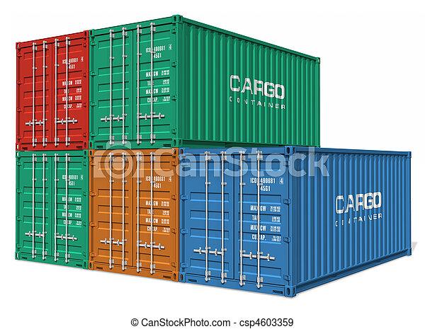cargaison, ensemble, récipients - csp4603359