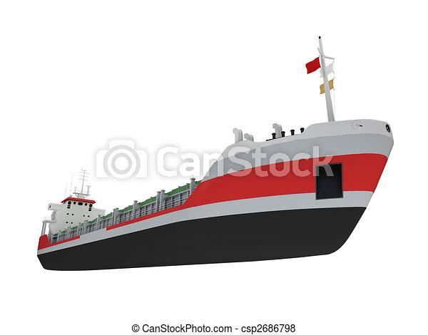 cargaison, grand, isolé, devant, bateau, vue - csp2686798