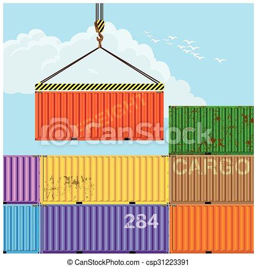 cargaison, grue, levage, récipients - csp31223391