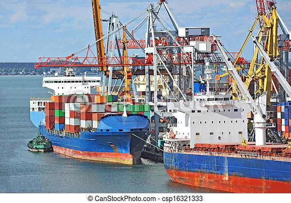 cargaison, grue, navire porte-conteneurs - csp16321333