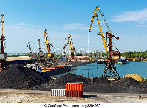 cargaison, grue, port - csp32949594