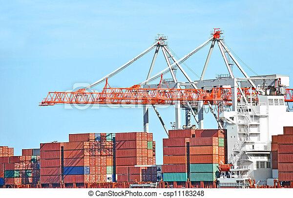 cargaison, grue, récipient, port - csp11183248