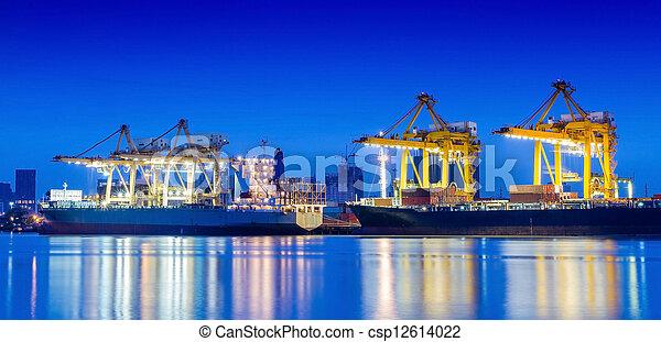 cargaison, industriel, récipient, fonctionnement, crane., bateau fret - csp12614022