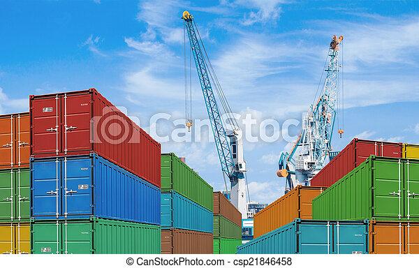 cargaison, ou, récipient, grues, expédition, port, exportation, importation, piles - csp21846458