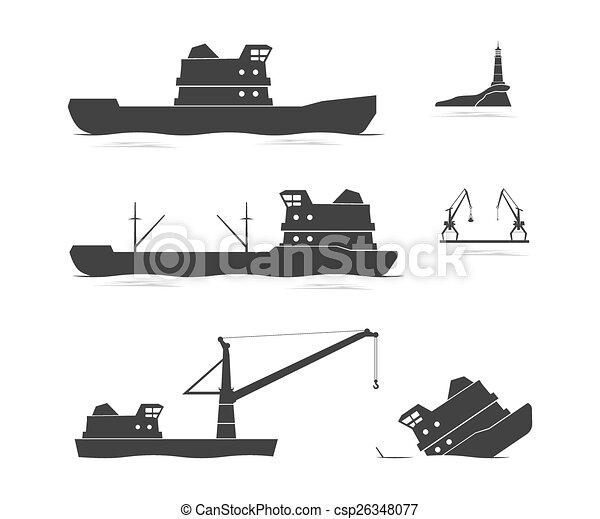 cargaison, silhouettes, bateaux - csp26348077