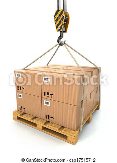 cargaison, soulevé, delivery., palette, crane., cartons - csp17515712
