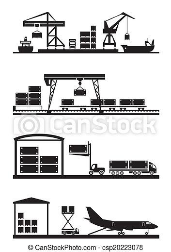 cargaison, terminaux, ensemble, icône - csp20223078