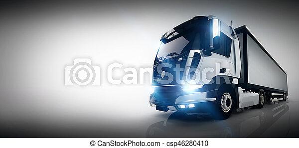 cargaison, trailer., long, camion livraison, professionnel, bannière - csp46280410