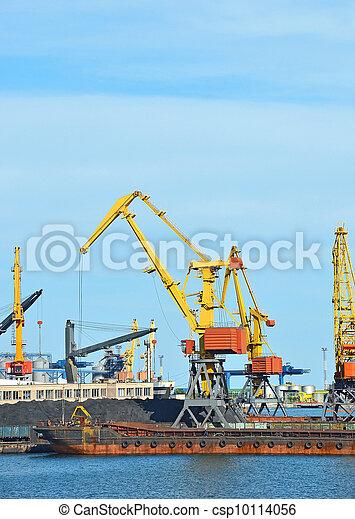 cargaison, traine, charbon, bateau, fret, grue, port - csp10114056