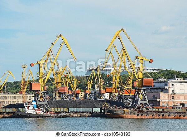 cargaison, traine, charbon, bateau, fret, grue, port - csp10543193