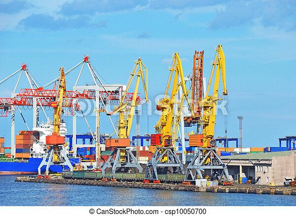 cargaison, traine, charbon, fret, grue, port - csp10050700