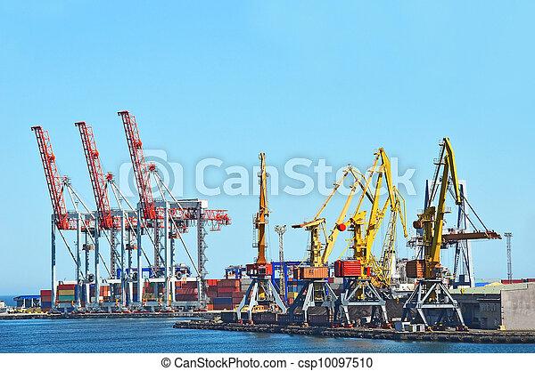 cargaison, traine, charbon, fret, grue, port - csp10097510