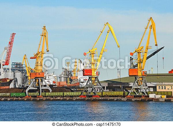 cargaison, traine, charbon, fret, grue, port - csp11475170