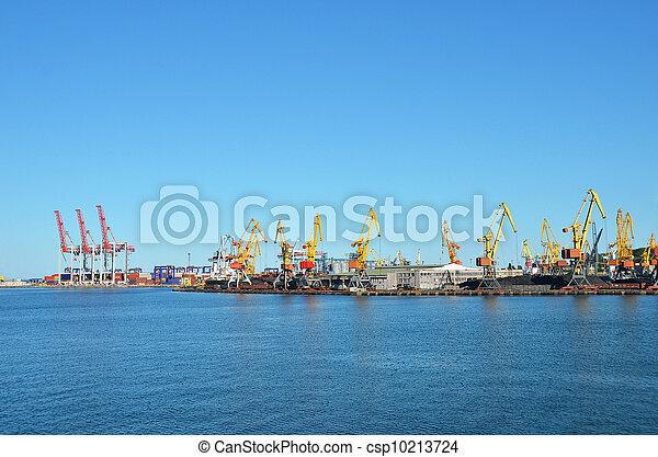 cargaison, traine, charbon, fret, grue, port - csp10213724
