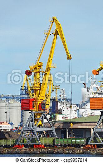 cargaison, traine, charbon, fret, grue, port - csp9937214