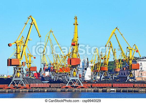 cargaison, traine, charbon, fret, grue, port - csp9940029