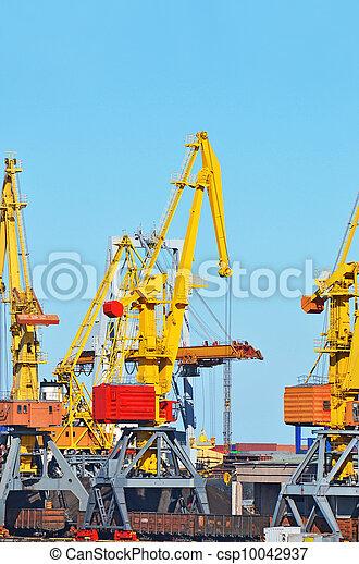 cargaison, traine, charbon, fret, grue, port - csp10042937