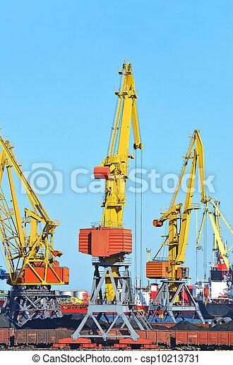 cargaison, traine, charbon, fret, grue, port - csp10213731