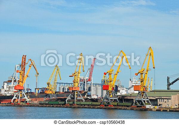 cargaison, traine, charbon, fret, grue, port - csp10560438