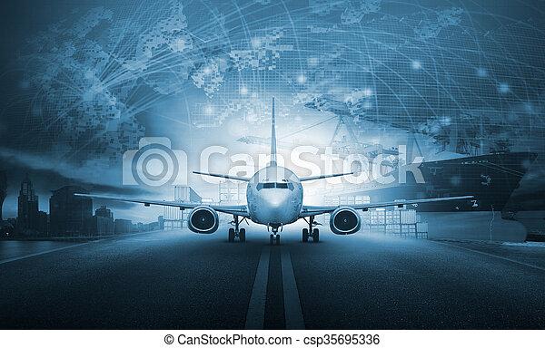 cargaison, usage, chargement, récipient, fond, business, jetée, industrie, -, air, aéroport, avion, exportation, fret, importation, bateau, approche, logistique, transport - csp35695336