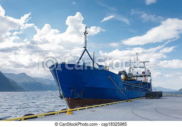 Cargo boat in dock, Norway - csp18325985