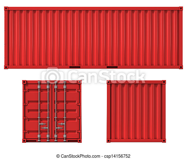 cargo container front side and back - csp14156752