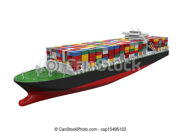 Cargo Container Ship Isolated - csp15495123