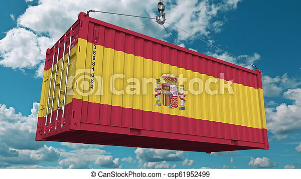 Cargo container with flag of Spain. Spanish import or export related conceptual 3D rendering - csp61952499