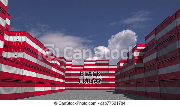 Cargo Containers With Black Friday Text And National Flags Of Austria Austrian Commerce Related 3d Animation Cargo
