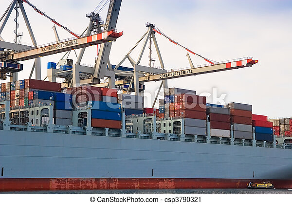 Cargo freight container ship at harbour terminal - csp3790321