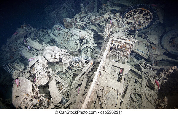Cargo in hold 1 of the SS Thistlegorm. - csp5362311