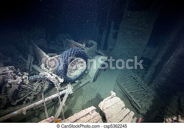 Cargo in hold 1 of the SS Thistlegorm. - csp5362245