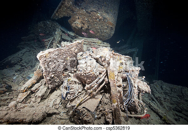 Cargo in hold 1 of the SS Thistlegorm. - csp5362819