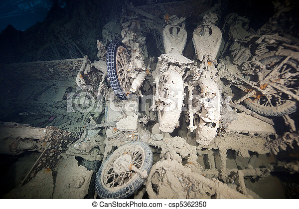 Cargo in hold 1 of the SS Thistlegorm. - csp5362350