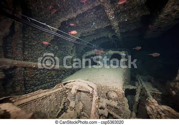 Cargo in hold 1 of the SS Thistlegorm. - csp5363020