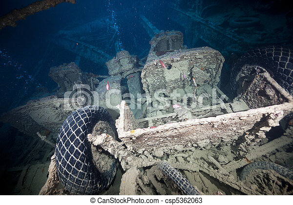 Cargo in hold 1 of the SS Thistlegorm. - csp5362063