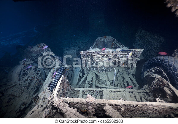 Cargo in hold 1 of the SS Thistlegorm. - csp5362383