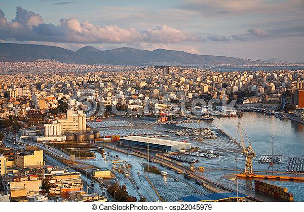 Cargo port in Piraeus, Athens. - csp22045979