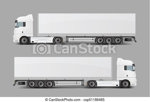 Cargo semi truck with trailer realistic vector - csp51186465