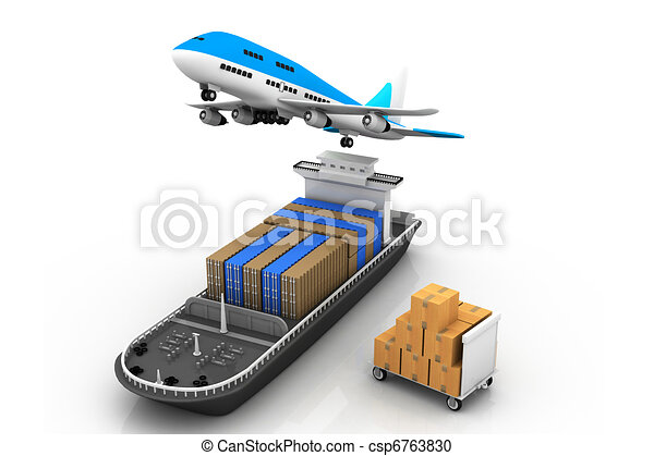 Cargo ship and airline - csp6763830