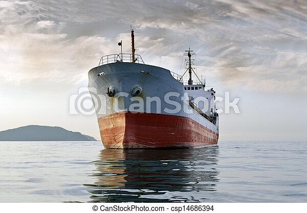 cargo ship at sea - csp14686394