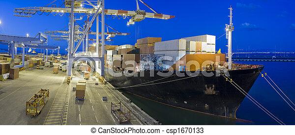 cargo ship by night - csp1670133