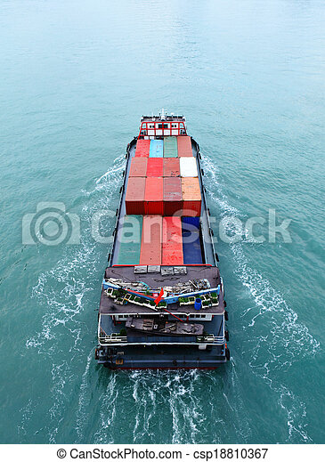 Cargo ship from top - csp18810367