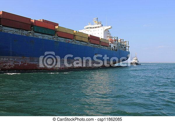 cargo ship is in port - csp11862085