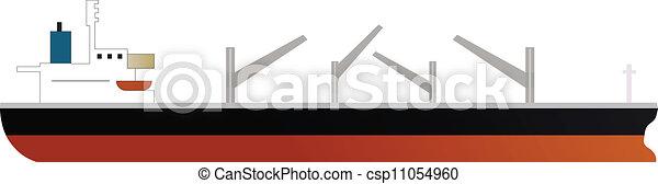 cargo ship of dry bulk carrier with four cranes  - csp11054960