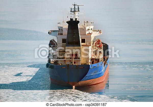 Cargo ship on the ice sea - csp34391187