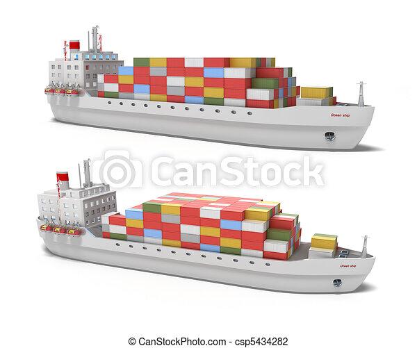Cargo ship on white background - csp5434282